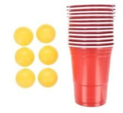 48 Piece Adult Beer Pong Drinking Game For Christmas Stag Hen Parties Party Set - Includes 24 x Balls + 24 x Red Cups - By Guilty Gadgets