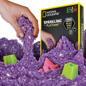 National Geographic Sparkling Play Sand - 900 Grammes of Shimmering Sand with Castle Moulds (Purple) - A Kinetic Sensory Activity