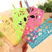 Bodhi2000 4pcs Plastic Ruler Graphics Symbols Drawing Template Cartoon Stencils Educational Toy for Kids,Random Colour Style