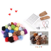 25pcs Mixed Colour Wool Fibre Needle Felting with Needles Starter Tools Kits for DIY Hand Making
