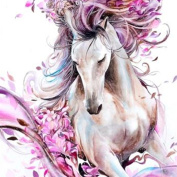 DIY 5D Diamond Painting by Number Kits, Crystal Rhinestone Diamond Embroidery Paintings Pictures Arts Craft for Home Wall Decor,Pink White Horse