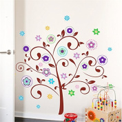 Malilove Colourful Flower Tree Wall Decals Home Decoration Diy Stickers Mural Art