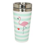 """'Metal mug """"Double Walled 400ml Flamingo"""