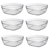 Duralex Square Stacking Glass Cooking / Ingredients Bowl - 23cm - Pack of 6
