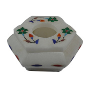 Royal Handicrafts Handcrafted Marble Ash Tray With Inlay Work