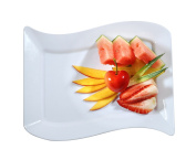 Fineline Settings Wavetrends White Rectangular-Wave China-Like 14cm X 19cm Plate 120 Pieces
