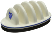 "Fairmont & Main ""Cream with blue hearts"" Earthenware 4-Slice Toast Rack"