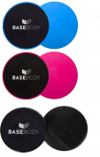 Gliding Discs - Pink or Blue or Black – Core Sliders - Exercise Discs - Reversible for use on Carpet or Hard Floors – Core Trainer – Core Slider - Total Body – Abdominal workout - Core Workout – Home Gym - Flexibility - Crossfit – by Basebody®