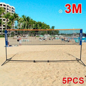 Popamazing Mini Badminton Net, Tennis Nets, Volleyball Net With Frame Stand Foldable 3M 5pcs