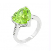 Apple Green Heart Ring, Size : 05