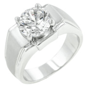 Kate Bissett R06880N-C01-14 Genuine Rhodium Plated Ring with a Round Cut Clear CZ Centre Stone in a Prong Setting in Silvertone- Size 14