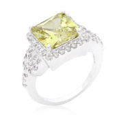Kate Bissett R08352R-C41-09 Halo Style Princess Cut Peridot Cocktail Ring - Size 09