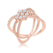 Jgoodin R08463A-C01-05 Mindy 0.8 CT Cubic Zirconia Rose Gold Delicate Triple Wrap Ring - Size 5