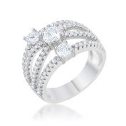 Jgoodin R08469R-C01-05 Womens Beatrice 1.8 CT Cubic Zirconia Rhodium Statement Ring - Size 5