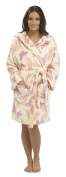 Foxbury Ladies Butterfly Shimmer Fleece Hooded Thigh Length Robe With Hood