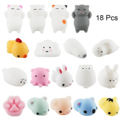 Squishy Toys, Tinabless Stress Reliever Decompression Toys for Kids, 18 Pcs Kawaii Animal Soft Squishys,Random Colour