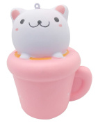 LaliLaco squishy Cat Cup slow rising toy (14cm Height) with Rings Stress Relieve Gift