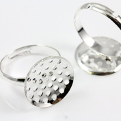 Beads4crafts Silver Plated Sieve Adjustable Blank Ring Bases 16mm (Pack of 2) FR1528