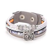 Wawer Fashion Women Durable Distinctive Owl Leather Bracelet Bangle Multilayer Handmade Wristband