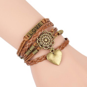 Women Men Leather Charm Bracelets Brown Braided Heart Charm Wristband Gifts
