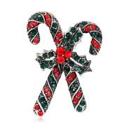 Profusion Circle Rhinestone Christmas Crutch Shape Brooch Pin Accessories for Women
