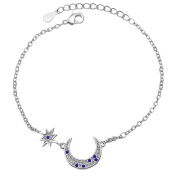 iTemer 1X Fashion Bracelet Silver Charm Bracelet Moon Design Luxury Jewellery Adjustable Bracelet