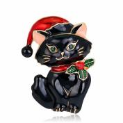 SWIDUUK Vintage Women's Enamel Lovely Cat Christmas Brooch Pin Breastpin Xmas Gift