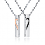 Stainless Steel Couple Necklace Lover Pendant Necklace Set Valentine's Day Gift