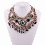 All Match Exaggerated Decorative Necklace for Women Short Multi-Layered Sunflower Diamond Pendant Clavicle Chain Accessories , black