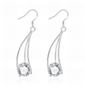 MOMO Three-wire Clip Zircon Earrings Fashion Drop-shaped Silver Earrings Ladies / Stainless Steel / Anti-allergic / Silver Flashing / Diamonds / Small and Exquisite