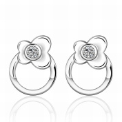 MOMO a Pair of Fashion Flowers Silver Jewellery Zircon Earrings / Stainless Steel / Anti-allergic / Silver Flashing / Small and Exquisite / Zirconia Made