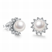 MOMO Fashion K Gold Gorgeous Pearl Zircon Pearl Female Earrings / Stainless Steel / Anti-allergy / Silver Flash Small and Exquisite / Pearl Earrings
