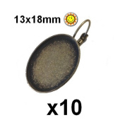 10 Settings for Cabochon Leverback earrings Bronze 13x18 mm