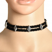 Smile YKK Women PU Alloy Double Braided Diamond Chain Chokers Necklace