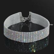 Smile YKK Rhinestone Bridal Multi-Row Clavicle Chain Choker Jewellery 2.5CM