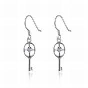 MOMO Key Heart-shaped Diamond Earrings Earrings Jewellery Ladies / Stainless Steel / Anti-allergic / Silver Flashing / Diamonds / Hook Earrings