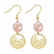 MOMO a Pair of Gold Zircon Earrings Round Hollow Romantic Lady Earrings Rose Gold Earrings
