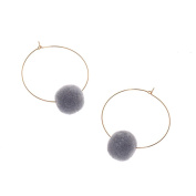 Circle Earring,Sixcup® 1Pair Women Charm Metal Dangle Earrings Ear Gold Hook Stud Jewellery Circle Round Hoop Earrings With Pom Pom