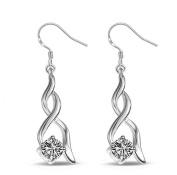 Lanaso Twisted Diamond Earrings Hook Earrings Danle Drop Earrings Silver Earring drops Ear Stud Earring