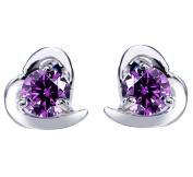 Lanaso Heart Love Earrings Studs Diamond Earrings Sterling Silver Stud Earrings Jewellery Claps Birthday Gifts for Women Girls Purple