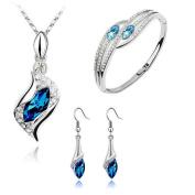 Minshao Crystal Chic Eyes Drop Earrings Necklace Bracelet DIY Jewellery Set