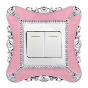 TiaoBug Plastic White/Pink Child Room Wall Light Switch Stickers Home Decoration Stickers Cover Pink One Size