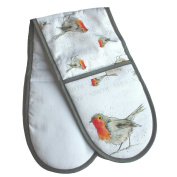 Robin Oven Gloves - Double Oven Glove - Sarah Boddy - 100% Cotton - Made in England