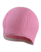 Ladies Swimming Hat Pink Classic Waffle Bubble Style