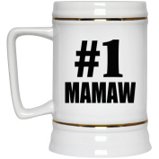 Number One #1 Mamaw - Beer Stein, Ceramic Beer Mug, Best Gift for Birthday, Anniversary, Easter, Valentines Mothers Fathers Day