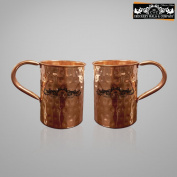 Crockery wala and Company Premium Set of 2 Copper Pipe Hammered Mugs made of 99.5% Pure Solid Copper, Great for cold drinks and for kitchen and bar purposes