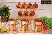 Crockery wala and Company Premium Set of 10 Copper Pipe Hammered Mugs made of 99.5% Pure Solid Copper, Great for cold drinks and for kitchen and bar purposes