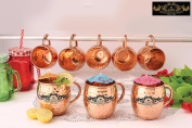 Crockery wala and Company Premium Set of 8 Copper C- Handle Mugs made of 99.5% Pure Solid Copper, Great for cold drinks and for kitchen and bar purposes