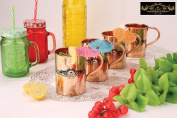 Crockery wala and Company Premium Set of 4 Copper Pipe Plain Mugs made of 99.5% Pure Solid Copper, Great for cold drinks and for kitchen and bar purposes