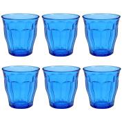 Duralex Picardie Coloured Water Tumbler Glasses - 250ml - Blue - Pack of 6